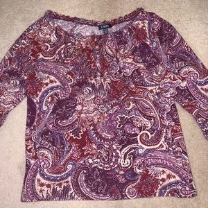 Chap's, blouse with buttons and floral designs.